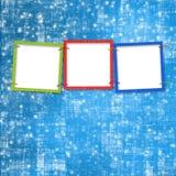 Three frames on the bright background. Three frames for photos on the bright background Stock Photo