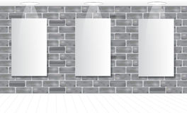 Three frames on the gray brick wall for your advertisement. Ligh. T. Mock up. Vector illustration Stock Photos