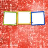 Three frames for photos. On the bright background Stock Photo