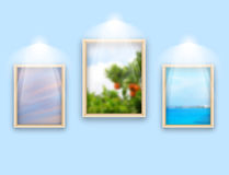 Three frames with photos hanging on wall Royalty Free Stock Image