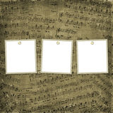 Three frames for photos on the musical background stock illustration