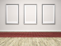 Three frames in a room Stock Photos