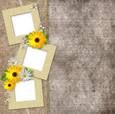 Three frames on vintage background Royalty Free Stock Photo