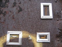 Three frames on wall. Three frames on a concrete wall stock images