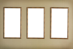 Three frameworks on  textural wall. Stock Images