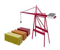 Three Freight Container Being with A Crane. A Container Crane with Three Freight Container, Container Crane Is A Heavy Machine for Loading and Unloading Stock Image