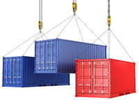 Three freight containers are being hoisted Royalty Free Stock Photography