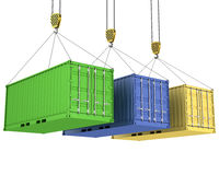 Three freight containers are being hoisted Stock Photography