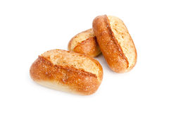 Three French breads on white. Three French breads isolated on white background. Shot with wide angle lens stock photos