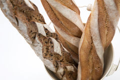 Three french breads in white background Royalty Free Stock Photography
