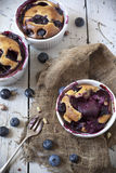 Three french clafoutis with blueberries and cherries on ceramic ramekins on rustic white vintage background Royalty Free Stock Photos