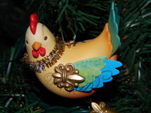 Three French Hens Ornament on a Tree Stock Images