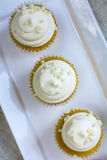 Three french vanilla cupcakes on white square plate Stock Image
