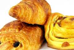 Three French Viennoiseries royalty free stock photography