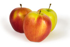 Three fresh apples  isolated on white Royalty Free Stock Image