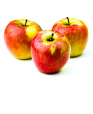 Three Fresh Apples. Studio shot of three delicious and healthy apples on a white background Stock Images