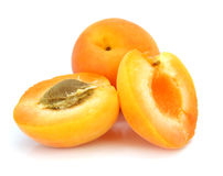 Three fresh apricot fruits Stock Photos