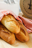 Three Fresh Baked Baguettes Royalty Free Stock Photo