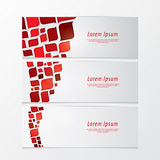 Three fresh banners. Modern design. Abstract retro mosaic - colorfully twister. Cards for website with much space for your content Royalty Free Stock Photography