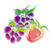 Three fresh berries: blackberry, strawberry and raspberry. Forest fruit - berries: blackberry, strawberry and raspberry. artistic illustration. isolated Royalty Free Illustration