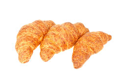 Three fresh croissant with cheese Stock Photos