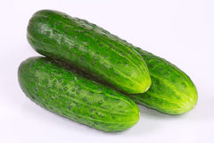 The three fresh cucumbers. From kitchen garden Stock Photos