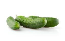 Three fresh Cucumbers on white Royalty Free Stock Photos