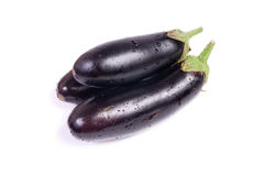 Three fresh eggplants isolated on white Royalty Free Stock Photos