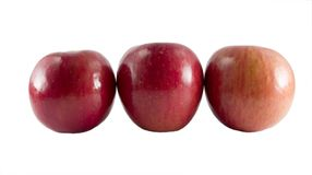 Three fresh fuji apples Royalty Free Stock Image