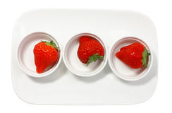 Three fresh juicy strawberry Stock Photo