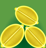 Three fresh lemon in a longitudinal section on a green background. Three fresh lemon in a longitudinal section on a background vector illustration