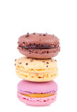 Three fresh macaroons. Isolated on white. Copy space for your text Stock Photography