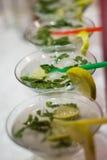 Three fresh mojitos cocktail Stock Image