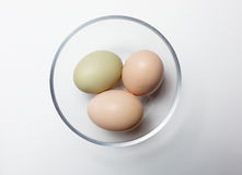 Three fresh organic eggs. Royalty Free Stock Photos