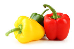 Three fresh pepper isolated on a white Stock Photos