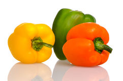 Three fresh peppers Stock Photography