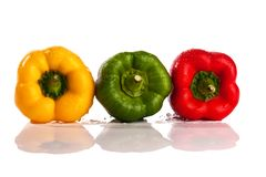 Three fresh peppers Royalty Free Stock Photography