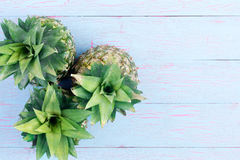 Three fresh pineapples viewed from the top Stock Images