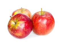 Three fresh red apple Stock Images