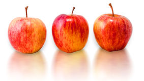 Three fresh red apples isolated on white background. Royalty Free Stock Photo