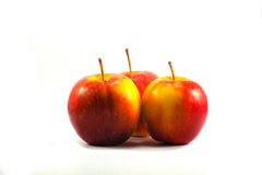 Three fresh red apples. Royalty Free Stock Photos