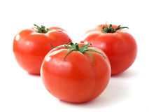 Three fresh red tomatoes isolated on white backgro Royalty Free Stock Images