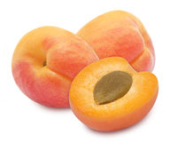 Three fresh ripe apricots Stock Image