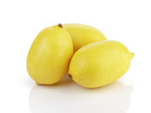 Three fresh ripe lemons isolated on white Royalty Free Stock Image