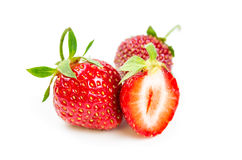 Three fresh ripe strawberries Royalty Free Stock Photos