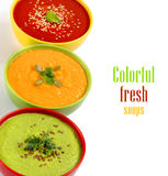 Three fresh soups Royalty Free Stock Photos