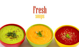 Three fresh soups Stock Images