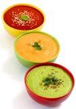 Three fresh soups stock image