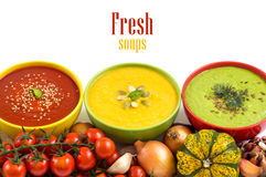 Three fresh soups and vegetables Stock Images