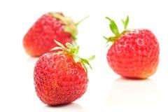 Three fresh strawberries Stock Photos